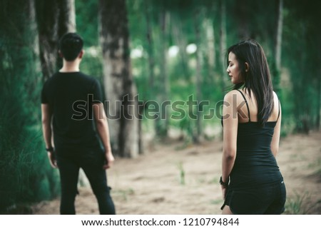 sad woman looking your boyfriend walking leave life her vintage style,heartbreak woman outdoor concept