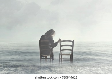 sad woman looks nostalgically at her lover's empty chair