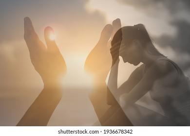 Sad woman praying asking god for help.