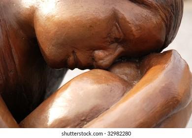 sad woman statue