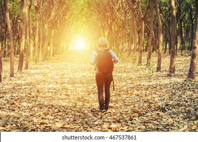 Sad woman walking alone in the forest feeling sad and lonely