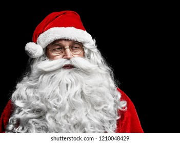 Sad and worried santa claus at studio shot