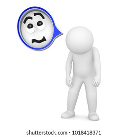 sad worried uncertain man hanging shoulders and head people negative speech thought bubble 3d rendering illustration