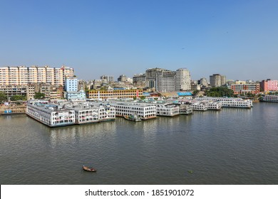Sadarghat, Dhaka, Bangladesh - 10th November 2020 : Sadarghat is situated on the banks of the Buriganga river. It is known as the largest and busiest river port in Bangladesh.