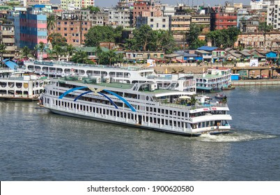 Sadarghat, Dhaka, Bangladesh - 10th November 2020 : Sadarghat is situated on the banks of the Buriganga river. It is known as the largest and busiest river port in Bangladesh