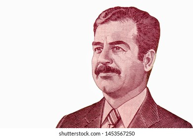 Saddam Hussein portrait from 25 Iraq Dinars 2002 Banknotes. Iraqi dinar is the national currency of Iraq. Closeup Collection.