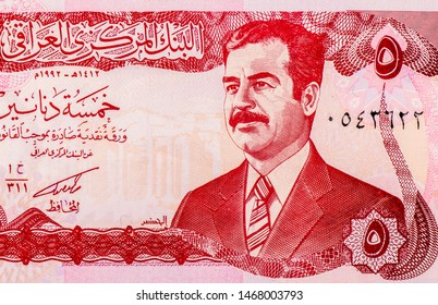 Saddam Hussein portrait from 5 Iraq Dinars 1992 Banknotes. Iraqi dinar is the national currency of Iraq. Closeup Collection.