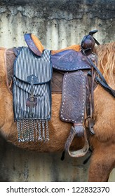 saddle in a brown horse