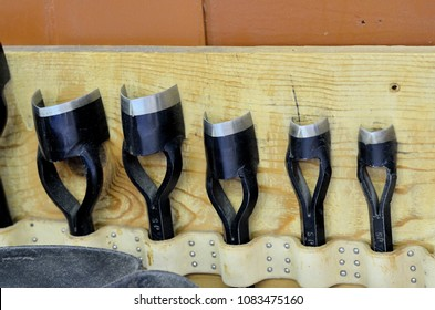 Saddle making. Tools for stamping and decorative design on leather.
