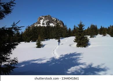 Saddle Medzirozsutce in wintertime, Malá Fatra mountains, Slovakia