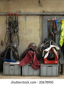 saddles left in room with other horse kit