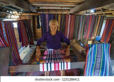 Sade, Central Lombok, Lombok, indonesia,  July 20, 2018, weaver