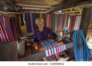 Sade, Central Lombok, Lombok, July 21, 2018, weaver