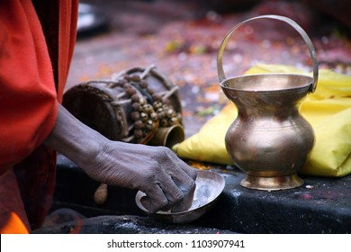 Sadhu's hand, An Indian Holy man. Normally a sadhu is a monk, renounced, renounced material enjoyment. In India from 4 to 5 million sadhu.
