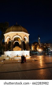Sadirvan fountain on the Hippodrome,  with night lights,  in Istanbul, Turkey