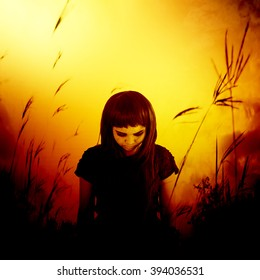 Sadness lonely girl walking in forest,Horror background for halloween concept and movie poster project