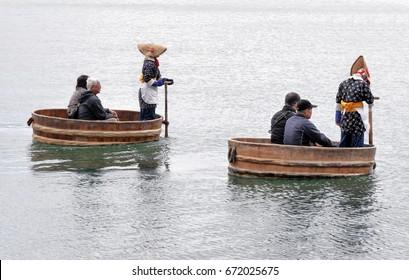 Sado Island, Niigata, Japan Oct 30, 2015 - Tarai bune tub boat service for tourist in Sado Island Niigata Japan