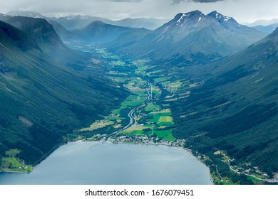 Saeboe, NORWAY 2016 AUGUST 04. Oye village view from Saksa Mountain.