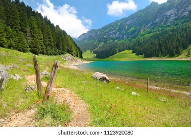 Saemtisersee: small lake in the Swiss mountains