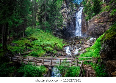 saent waterfall in trentino alto adige, italian alps