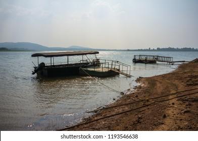 Safari boats on Kabini river in national park in India