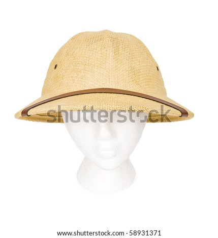 5a619e2445a Safari guide hat isolated on white. Resting on a model head for proper  perspective.