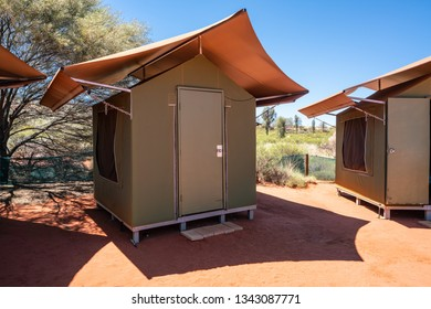 Safari tent in middle of Australian red centre swag campsite in NT outback Australia
