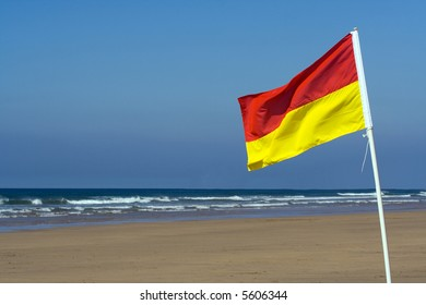 Safe bathing flag on a Cornish beach