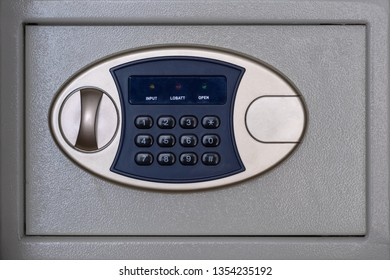 Safe box with combination lock. Financial service in a bank or hotel. Money storage concept.