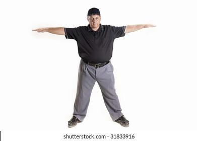 Safe Call Professional baseball umpire on white background