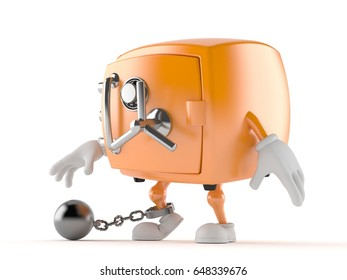 Safe character with prison ball isolated on white background. 3d illustration