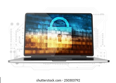 Safe Computer Access Conceptual Illustration. Modern Laptop Computer with Padlock and Digital Background Concept on Display. Laptop Isolated on White.