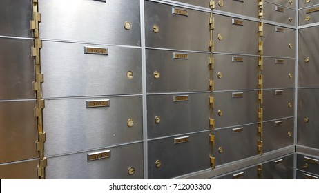 Safe deposit boxes in a bank