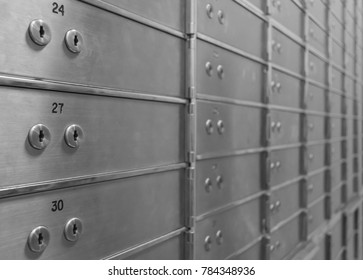 Safe deposit boxes for rent in a safety room.