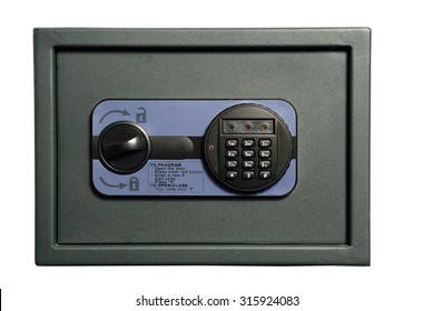 Safe with digital combination lock on a white background