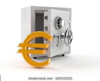 Safe with euro symbol isolated on white background. 3d illustration