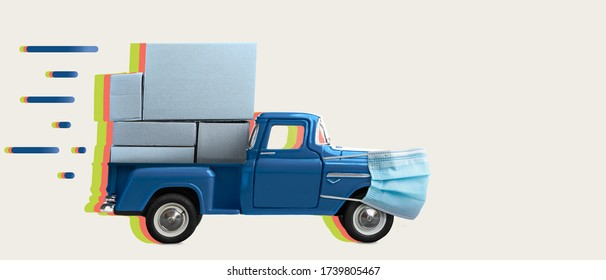 Safe and fast delivery. Toy car in mask delivering blank boxes. Loaded pickup truck with protection isolated