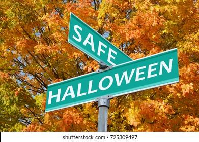 Safe Halloween Street Sign Autumn leaves Tree background