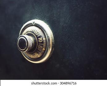 Safe lock code on safety box bank