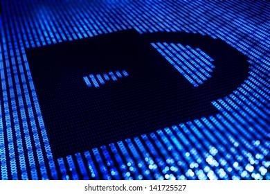 Safe Lock Digital Illustration - Online Transaction Safety / Password Key - Illustration.