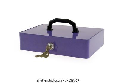 Safe locked up, white background