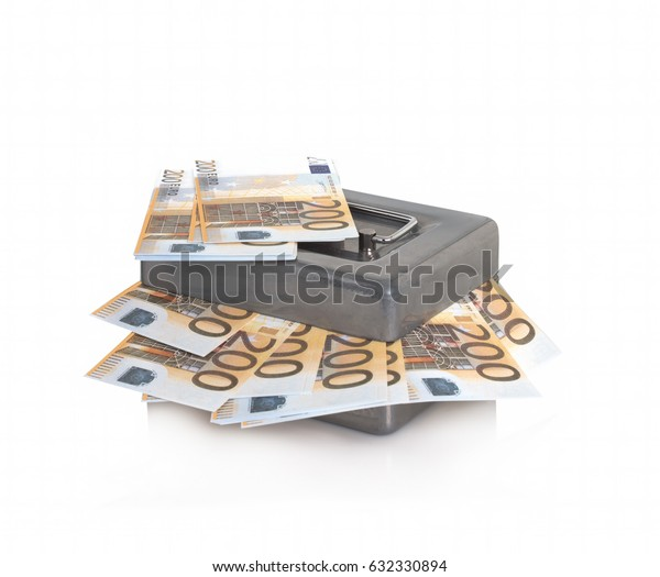 Safe with money on a white background. Isolated