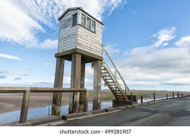 A safe refuge for travelers caught by a rising tide while traversing the tidal causeway at Holy Island, Northumberland, England.