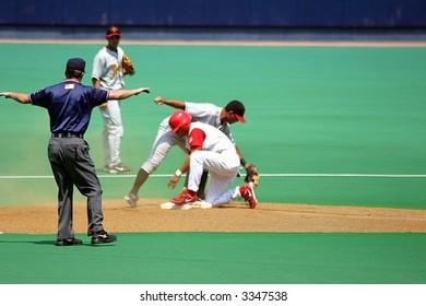Safe at second base