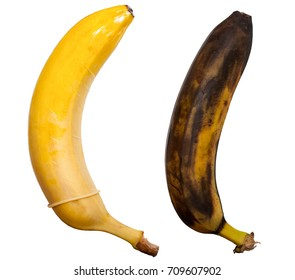 Safe sex with condom and unprotected sex leading to disease. Concept. Healthy banana in a condom and sick rotten black banana without a condom