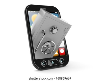 Safe with smart phone isolated on white background. 3d illustration