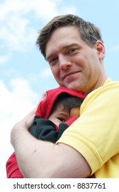 Safe and sound in father's arms