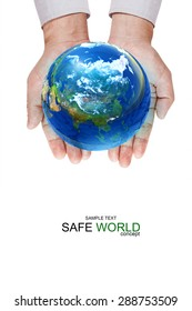 Safe world concept . Hand Holding Earth ball on white background.Copy Space on vertical sheet.Clipping path.Elements of this image furnished by NASA