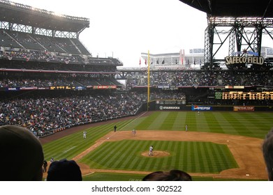Safeco Field, Seattle with roof closing