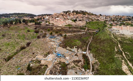 Safed, Israel - 15 March, 2017: The holy city of Tzfat with the famous ancient cemetary at the bottom of the hill.